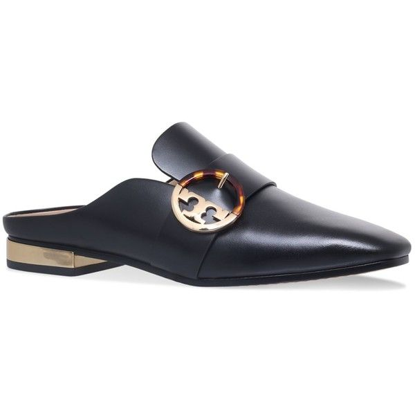 Tory Burch Sidney Backless Loafers (1,665 SAR) ❤ liked on Polyvore featuring shoes, loafers, backless loafers, backless shoes, anchor shoes, tory burch footwear and loafers moccasins
