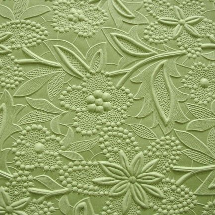 Large sheet of embossed paper in a leaf green color featuring a Spring floral pattern. Handmade and hand-embossed paper from India. Acid Free    Size: