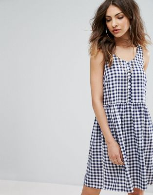 Nobody's Child Smock Dress In Gingham Print With Button Detail