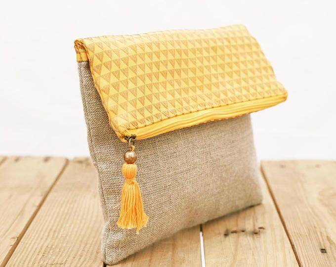 Leinen Tasche Boho, Brokat Tasche, gelb und Gold, Dreieck Muster, marokkanisch, Foldover Clutch, 10 X 8 Zoll