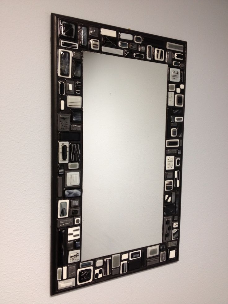 Fused glass mosaic mirror