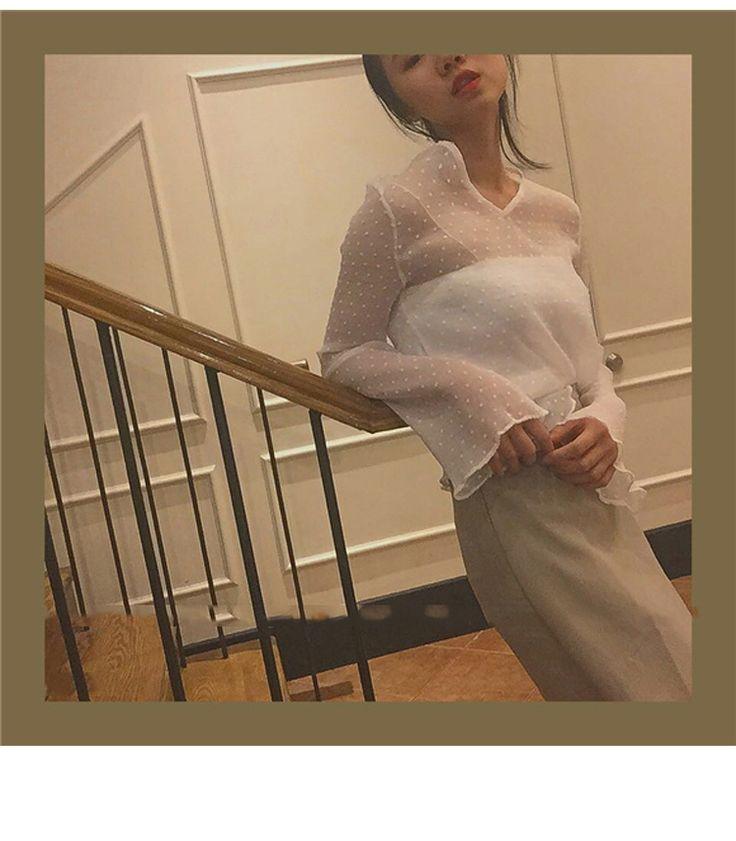 ГОРЯЧИЕ Моды Женщины Sexy Шифон Прозрачный С Длинным Рукавом Блузка Рубашка + Жилет Белый Розовый Темно Зеленый 7183 купить на AliExpress