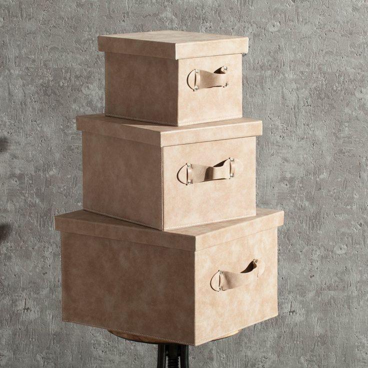 Pudełko Lambert skórzane brown 37x32x23cm, 37x32x23cm - Dekoria