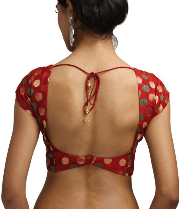 9rasa Red Short Sleeves Chanderi Silk Stitched Saree Blouse