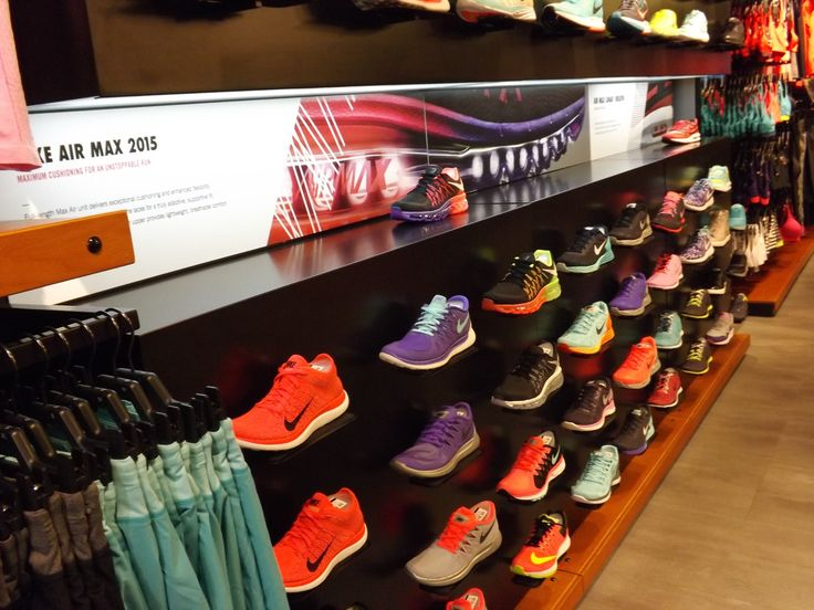 Nike Air Max 2015 footwear wall double bay display sports shoe display.  Alcoves.