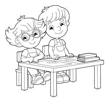 Ausmalbild Schule: Grundschüler im Unterricht zum Ausmalen kostenlos ausdrucken