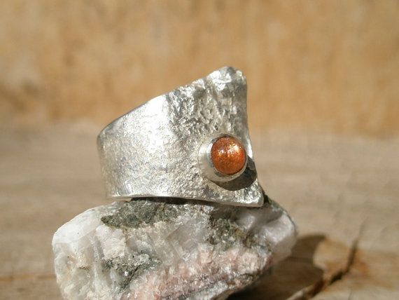 Sunstone sterling silver ring, rustic modern design ring, assymetrical sterling silver ring, sterling silver statement ring, one of a kind
