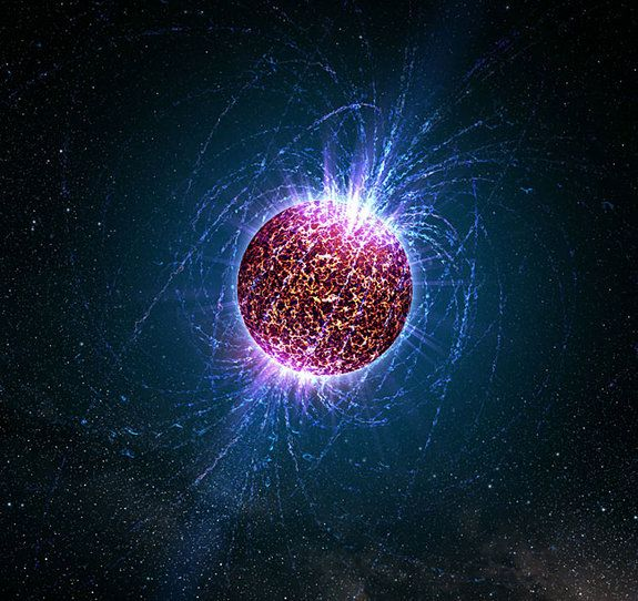 """Astronomers Find Closest Neutron Star. Artist's illustration of an """"isolated neutron star""""--a neutron star that does not have an associated supernova remnant, binary companion or radio pulsations. The object, located in the constellation Ursa Minor, is nicknamed Calvera, after the villain in the movie """"The Magnificent Seven."""""""