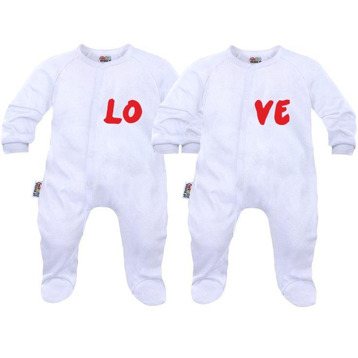 2 pyjamas bébé jumeaux et jumelles: love - Pyjamas bébé - SiMedio