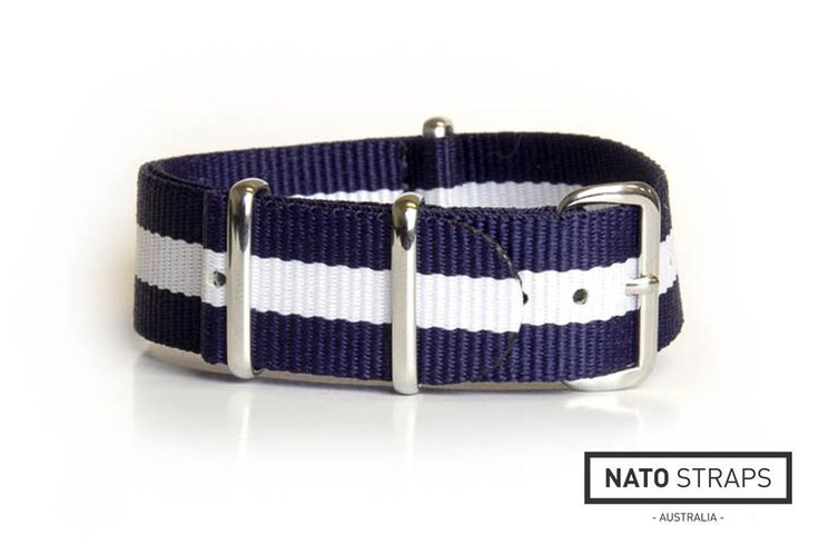 NATO Regimental Strap Navy and White | Watch Straps Australia