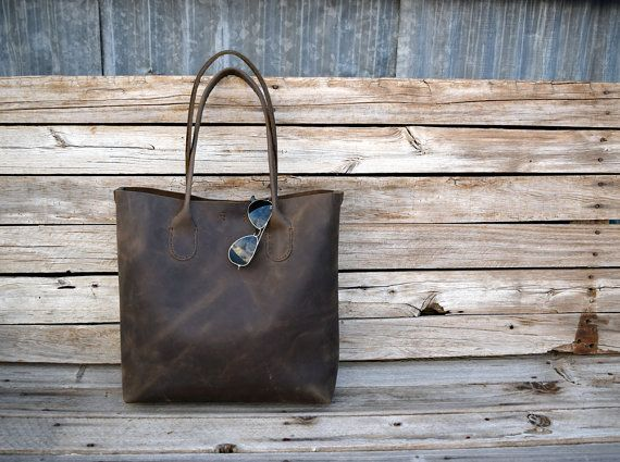 Large Brown Leather Tote Bag / Hand stitched by FeralEmpire