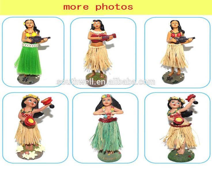 resin material custom dashboard hawaiian hula girl bobble head