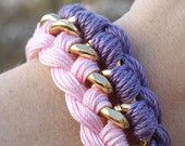 Items similar to Lavender and Pink Interwoven Curb Chain Bracelet on Etsy