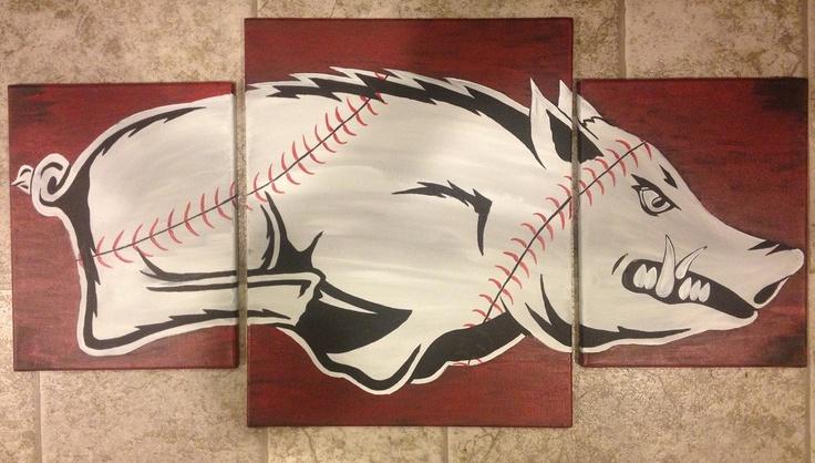 Arkansas Razorback Baseball Painting by ThaxtonsCrafts on Etsy