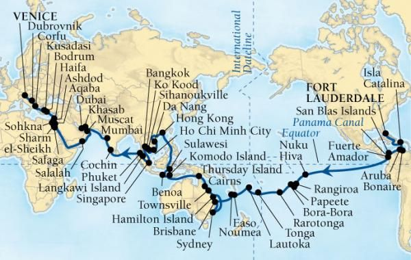 Around the world cruise! Now this amazing trip would tick a lot off my bucket list!  All it is missing is the Antartica trip...note to self, pin Antartica trip. Can you imagine the amazing things each day would bring? While this is a luxury cruise, I would do it on a working ship just to see all the sights, try all the foods, learn from all the cultures....some day!