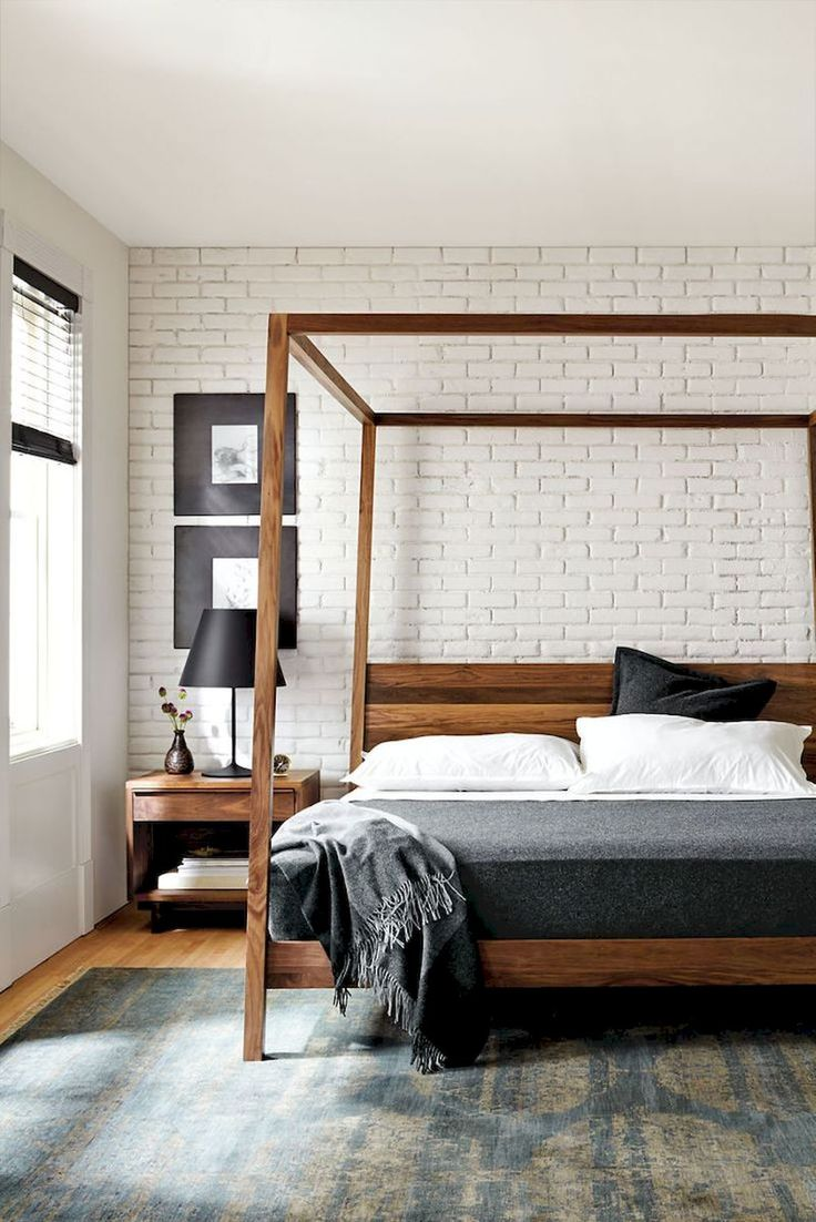 35 Rustic Bedroom With Brick Wall Decoration Ideas