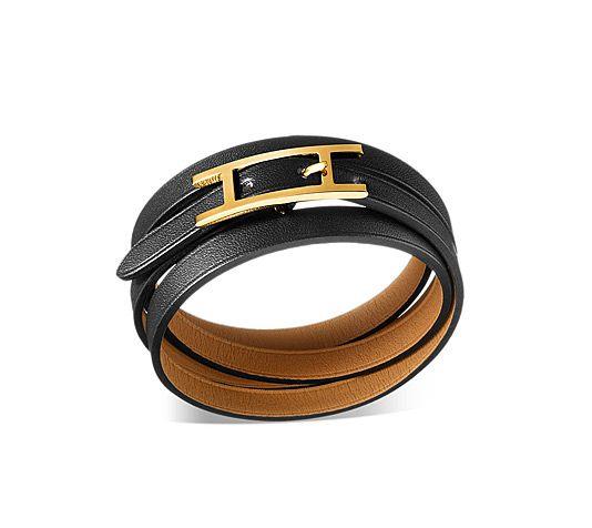 "Hapi 3 MM  Hermes bracelet  Black chamonix calfskin leather    Gold plated, 25.5"" long, 0.3"" wide.  Ref. 046328CC89MM  $320.00"