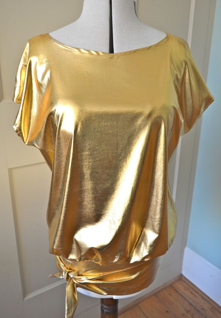 disco-style gold top from HandmadeJane based on Sew Over It Vintage tie top