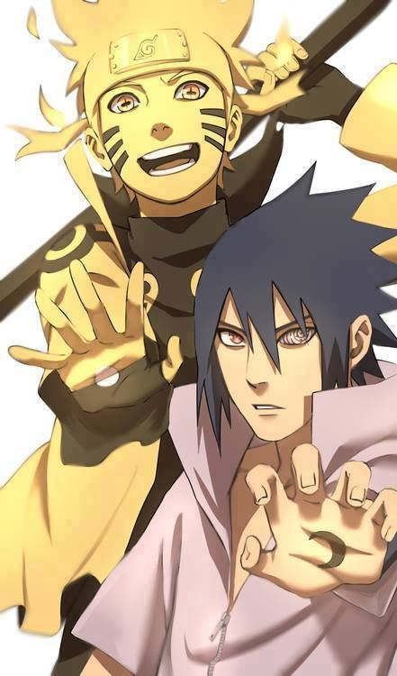 Naruto Jinchuriki and Sanin mode  & Sasuke Mangekyu Sharingan with Rinnegan FanArt