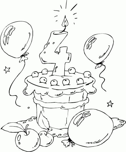 birthday cake age 4 coloring page - coloring.com