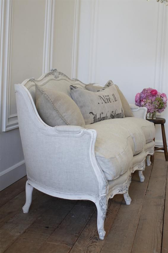 Antique French Sofa from Full Bloom Cottage                                                                                                                                                     More