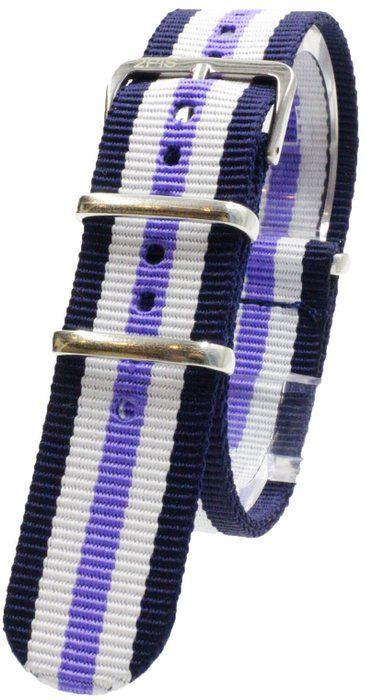 [2PiS] ( ダブルネイビー・ホワイト・センターライトパープル : 20mm ) NATO 腕時計ベルト ナイロン 替えバンド ストラップ 交換マニュアル付 136-1-20