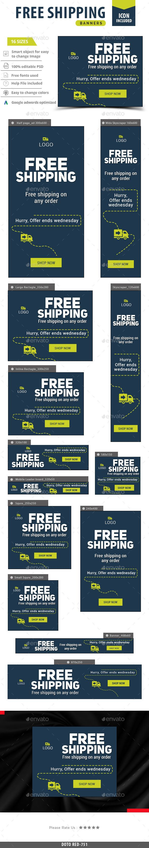 Free Shipping Banners — Photoshop PSD #marketing #banners • Available here → https://graphicriver.net/item/free-shipping-banners/13256552?ref=pxcr