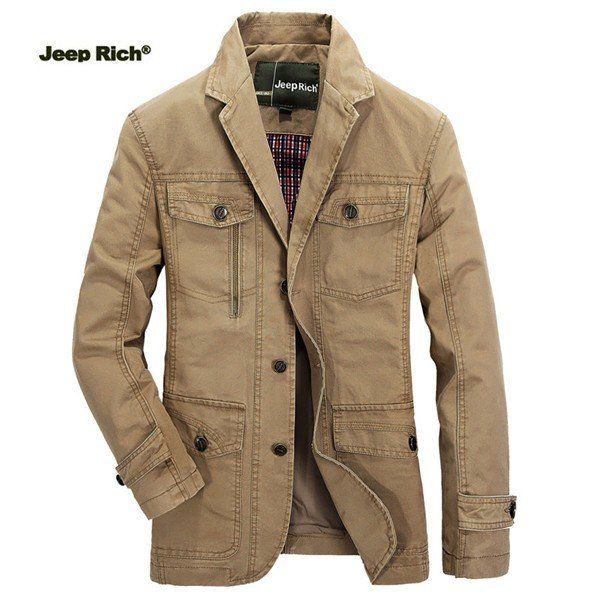 Jeep Rich® Mens Outdoor Jacket Turndown Collar Solid Color Casual Business Cotton Coat