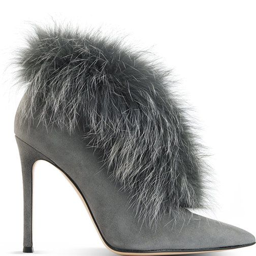 Gianvito Rossi fur-trimmed suede boot