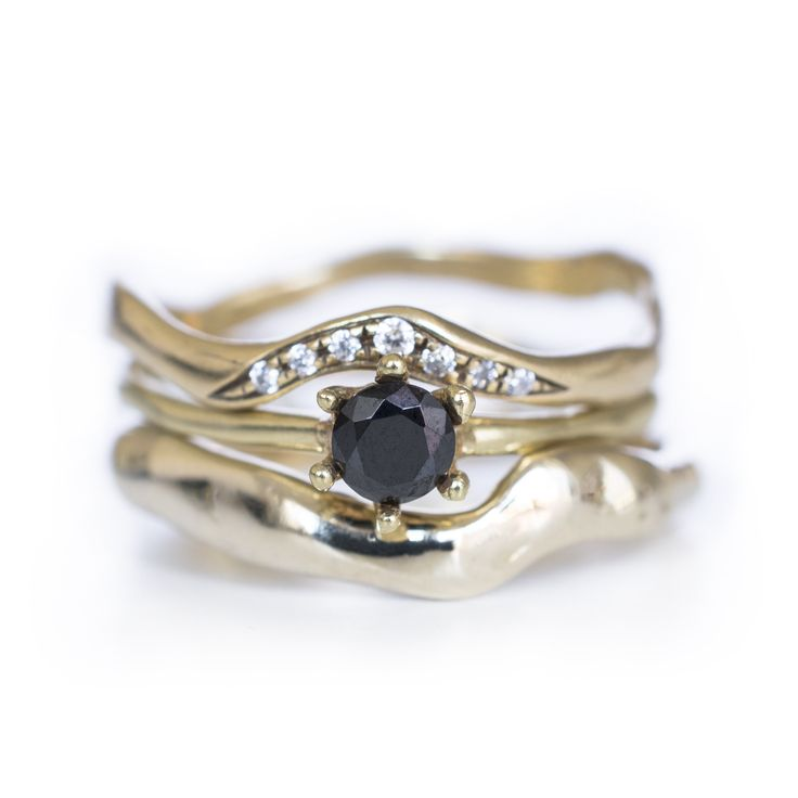 Black Diamond Solitaire with Diamond Simple Band and Drip Band to perfectly finish the ring stack. Handmade by 27JEWELRY