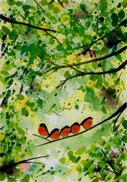"""""""5 uccellini"""" Immagine esclusiva Questa immagine di 5 uccellini nel mezzo di un luminoso albero si può avere montata su tavola in vari formati fino ad una dimensione massima di cm. 104 x 59 . Per richiedere il formato desiderato o per sapere in che dimensioni è già pronta, scrivetemi."""