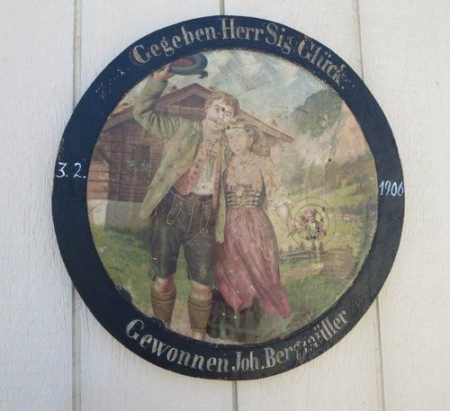 Antique Wooden Hunt Target Chromo Lithograph Bavarian Couple in Alps 1906 Oktoberfest Idea or Wedding Present for a Cabin Wedding