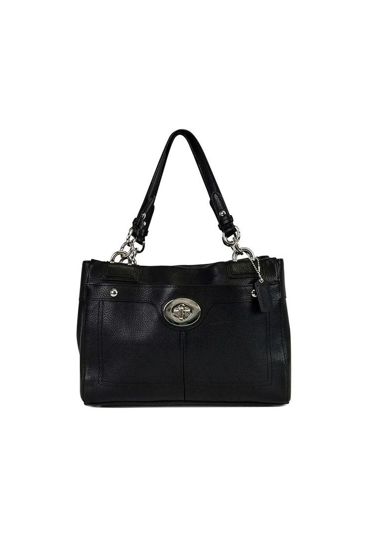 Coach- Penelope Black Leather Satchel Purse | Current Boutique