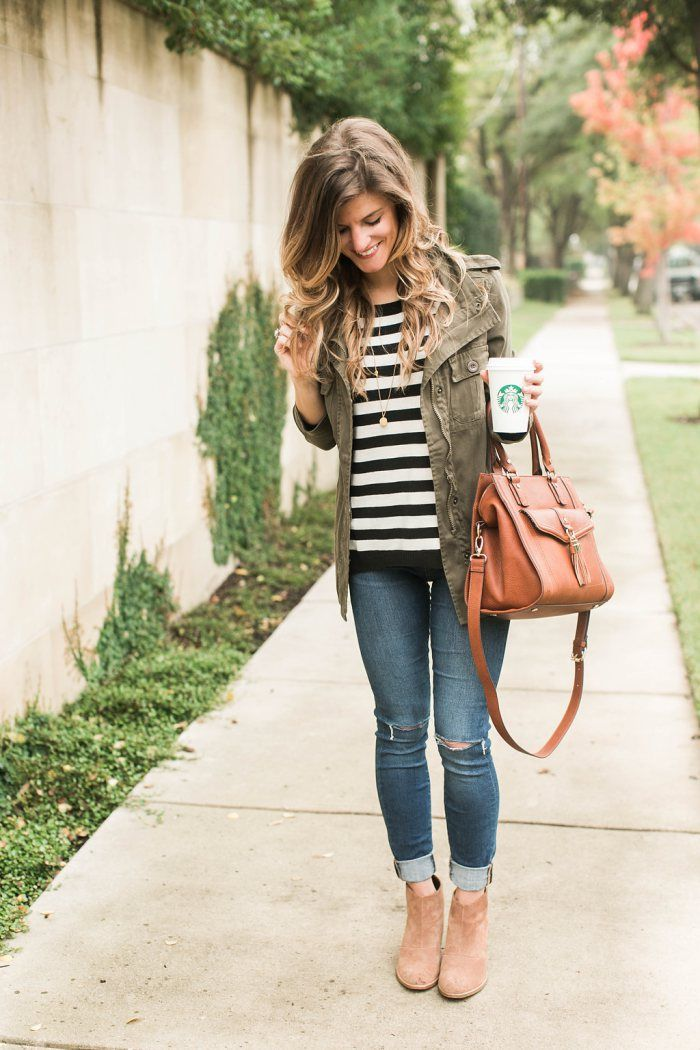 Striped tee   utility jacket   jeans   booties