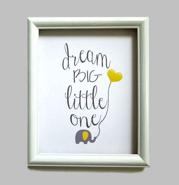 Dream Big Little One, Elephant Nursery Art Print, Your Color Choice, Toddlers Room, Boys Girls Nursery Decor