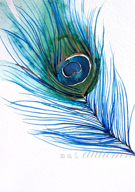 30% Off SALE - Large Wall Art - Wall Decor - Watercolor - Peacock Feather I - Large 16x20 Print - Poster - Modern Contemporary Art