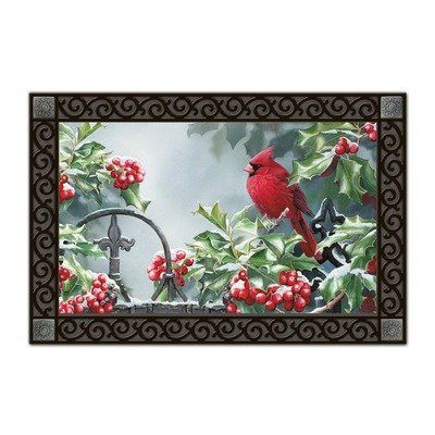 Hollyberry Cardinal Matmate Doormat by Magnet Works, Ltd.. $20.00. Weatherproof outdoor doormats or use as indoor doormats.. Made with non-slip rubber. Vibrant colors, fade-resistant doormats.. Use MatMates Doormats alone or with the decorative tray (as shown).. MAIL15942 Features: -Material: Recycled rubber.-With a non woven polyester face.-Weatherproof.-For indoor/outdoor use.