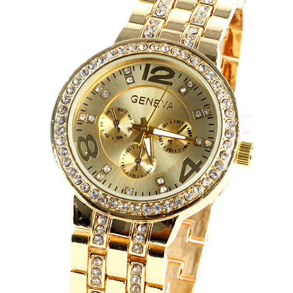 Luxury Geneva Stainless Steel Watch with Diamond Bezel and Inlaid Bracelet Link Band