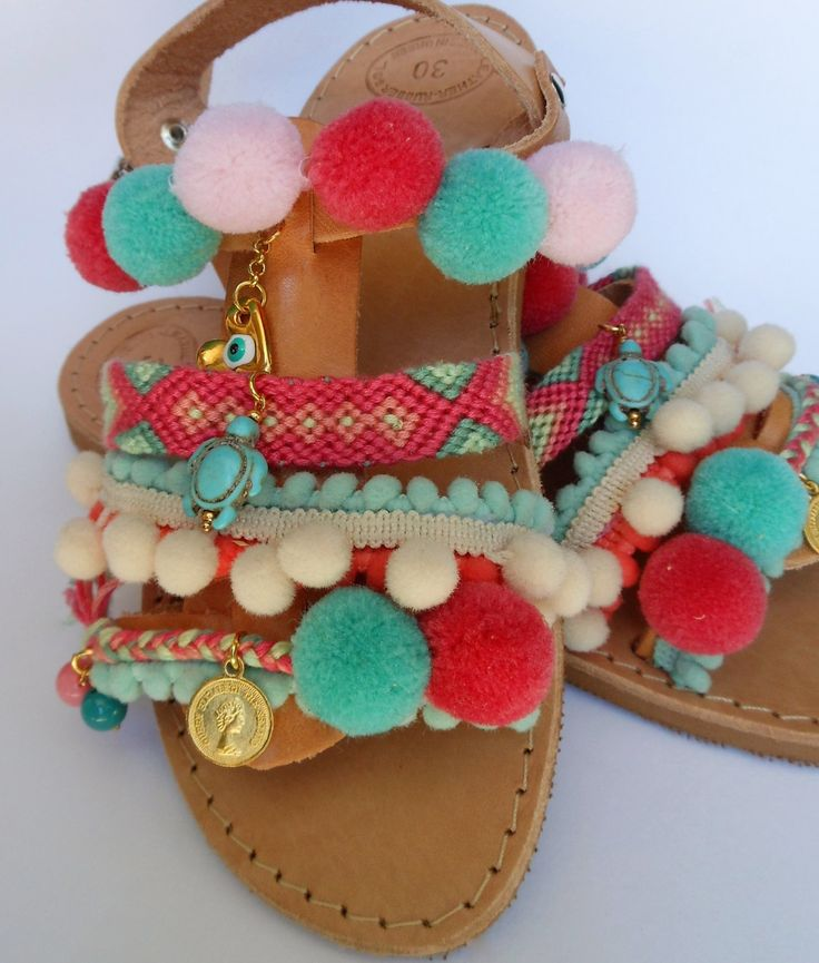 Sale! CANDY GIRL! Spartan straps sandals for girls, boho shabby chic pom poms children leather sandals by ENOTIA on Etsy