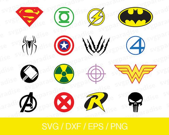 Superhero Svg, Superheroes Logo Svg, Superhero logo Eps, Superhero Cut Files, Svg,  Eps, Dxf, Png use with Cricut & Silhouette