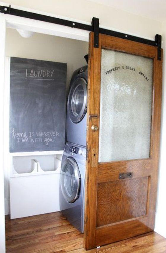 Glass barn doors for laundry room
