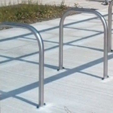 Stainless Steel Sheffield Cycle Stand Surface Mounted. Height:800mm. Width:750mm. Outside Diameter:48mm.
