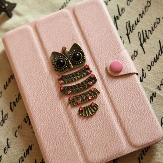 iPad, pink case with lovely owl,mini ipad case