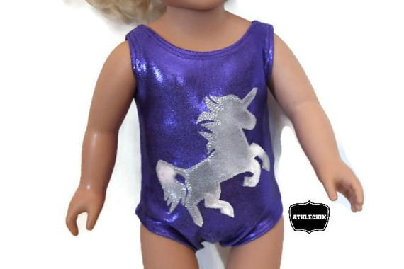 maillot de gymnastique licorne pour poupée 18 pouces par AthleChik