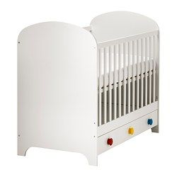 IKEA - GONATT, Crib, , The bed base can be placed at two different heights.One crib side can be removed when the child is big enough to climb into/out of the crib.Your baby will sleep both safely and comfortably as the durable materials in the crib base have been tested to ensure they give their body the support it needs.The crib base is well ventilated for good air circulation which gives your child a pleasant sleeping climate.
