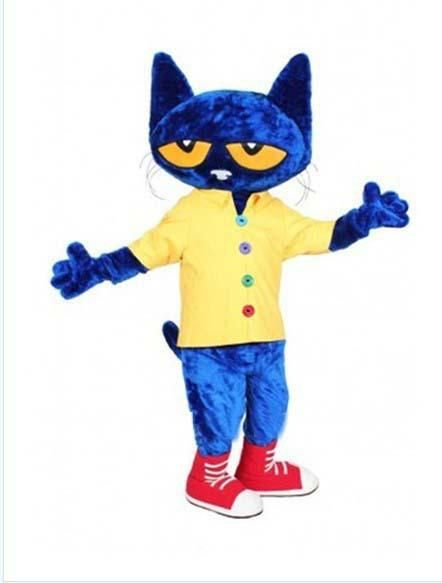 2016 Pete the Cat Adult Size Halloween Cartoon Mascot Costume Fancy Dress