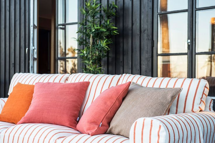 summer vibes   move your living room outside to your patio   IKEA Ektorp sofa with a Bemz cover in Saffron Brera Fino by Designers Guild   Bemz cushion covers   a jute rug adds further texture   oudoor styling