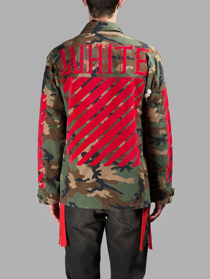 Off White Embroidered Camouflage Jacket Red
