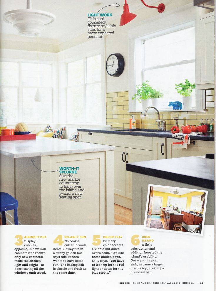 Better homes and gardens december 2015 kitchen with yellow subway tile plenty of lighting ideas