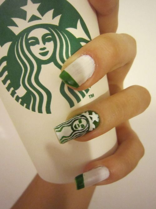 Starbucks nails....Those things are so long, how can she do anything with them?